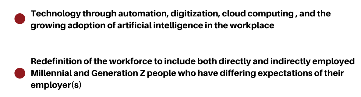 bullet points about technology and the redefinition of the workforce